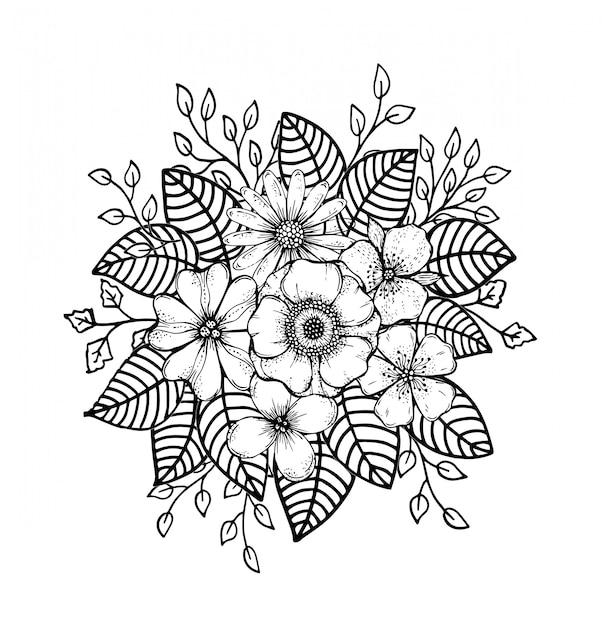 Doodle floreale disegnato a mano Vettore Premium