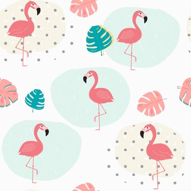 Doodle foglie tropicali estate pastello e fenicottero rosa Vettore Premium