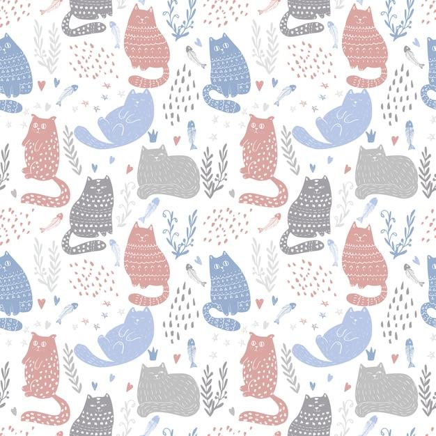 Doodle funny cats seamless pattern design. bambino e bambini tessile e sfondo di carta da parati. cute pet wrapping e scrapbooking modello vettoriale. Vettore Premium