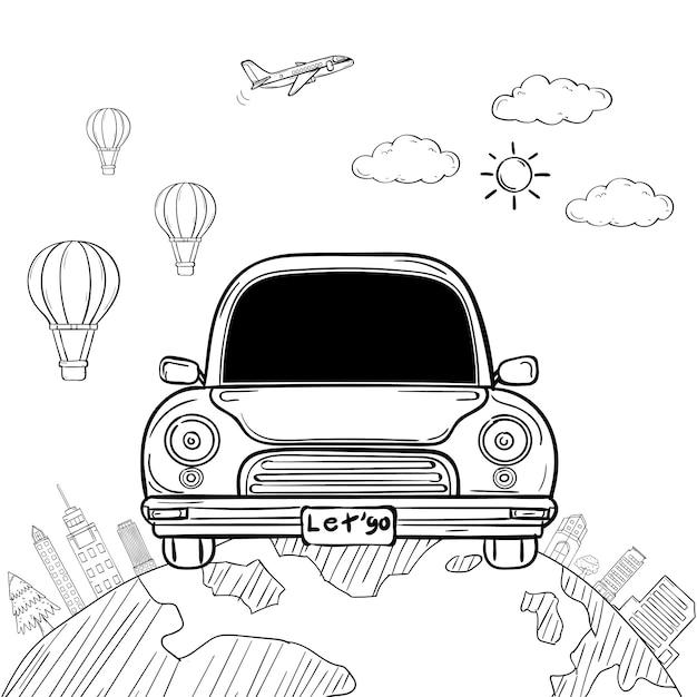 Doodle hand draw car cartoon viaggiatore con fumo e asset viaggio intorno al concetto di mondo Vettore Premium