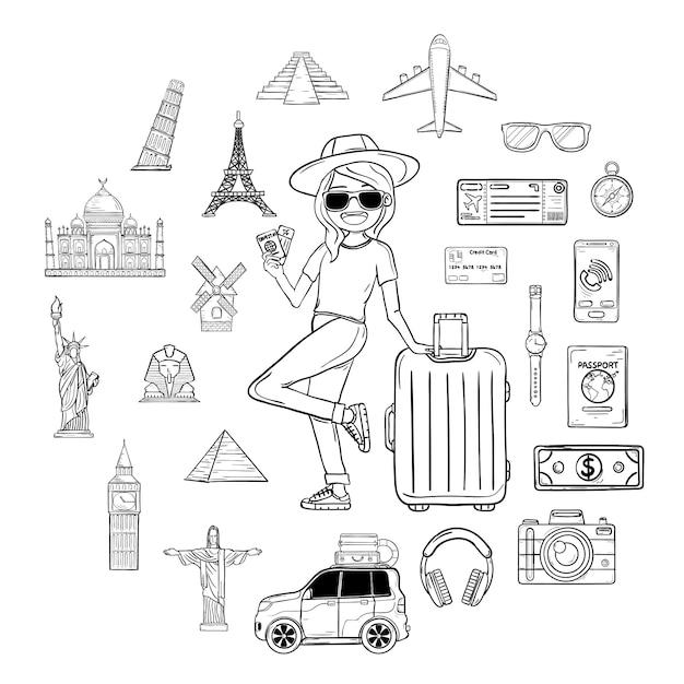 Doodle hand draw donna viaggiatore con bagagli. accessori da viaggio in tutto il mondo. Vettore Premium