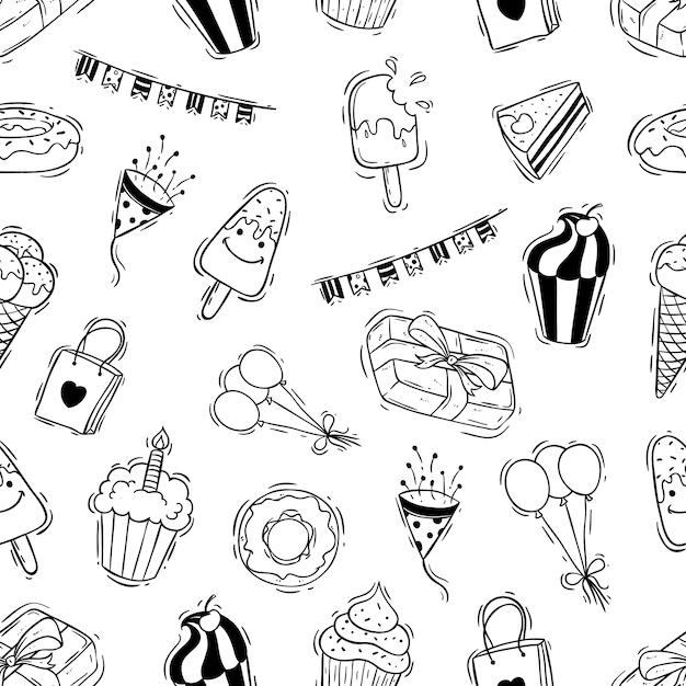 Doodle icone festa di compleanno in seamless Vettore Premium