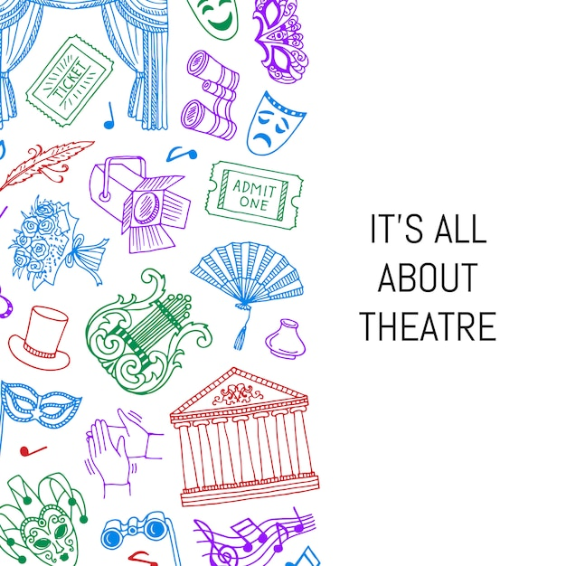 Doodle illustrazione elementi di sfondo del teatro con il posto per il testo Vettore Premium