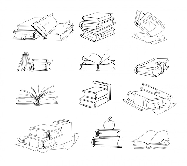 Doodle, insieme di vettore di libri schizzo disegnato a mano. Vettore Premium