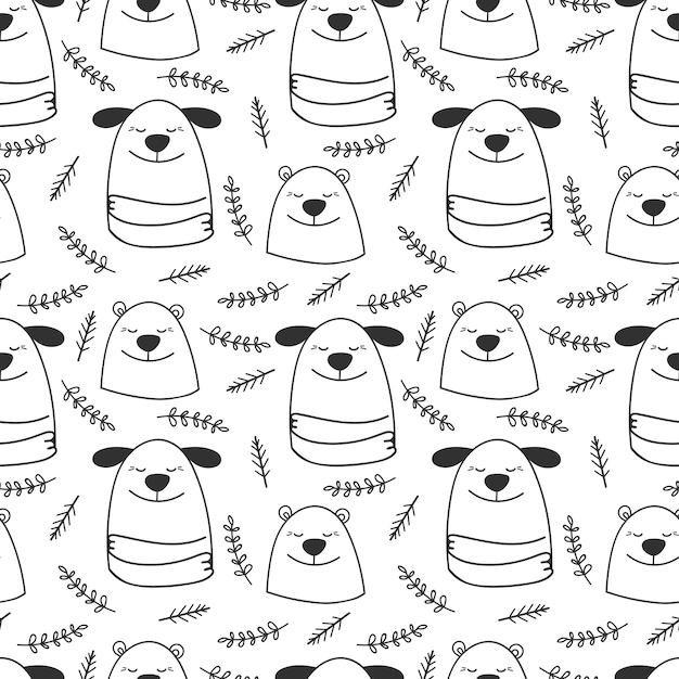 Doodle linea cani e orsi senza cuciture Vettore Premium