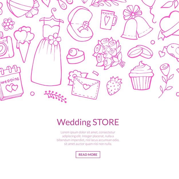 Doodle linea di elementi di nozze rosa Vettore Premium