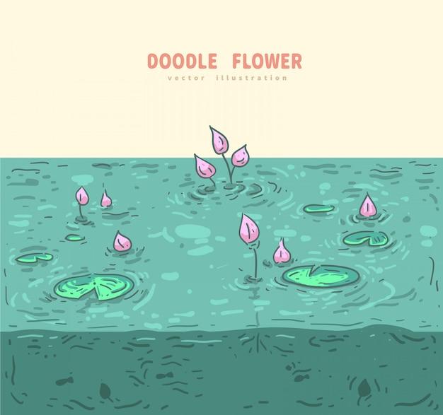 Doodle loto con sfondo di acqua Vettore Premium