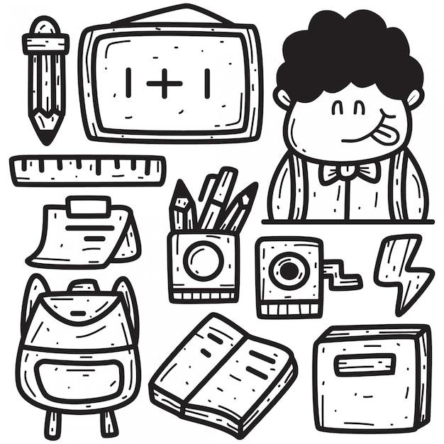 Doodle mano disegno di nuovo a scuola Vettore Premium