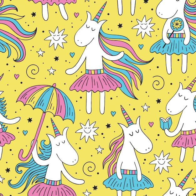 Doodle modello senza cuciture di unicorno Vettore Premium