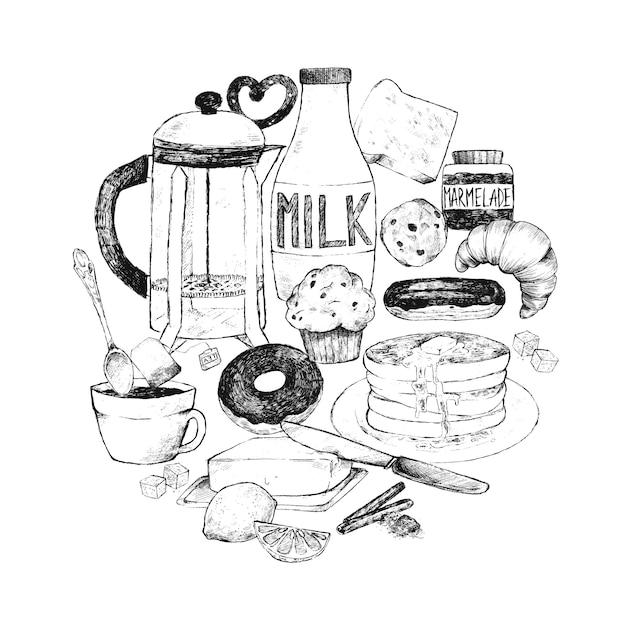 Doodle prepara cibo per colazione. Vettore Premium