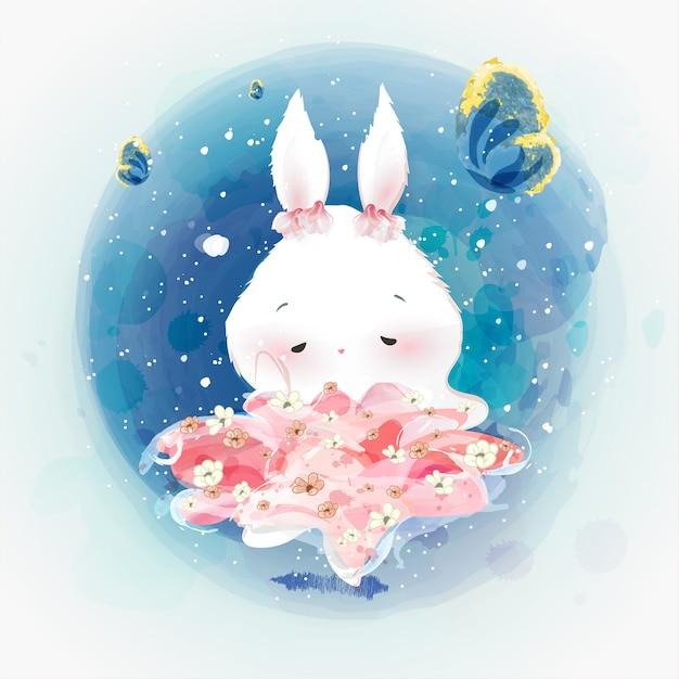 Doodle rabbit pittura ad acquerello in floreale. Vettore Premium