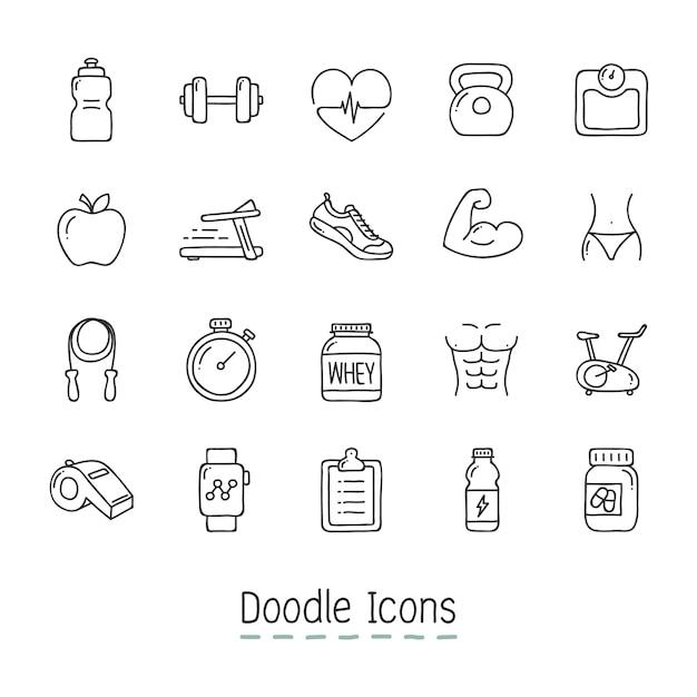 Doodle Salute E Fitness Icone. Vettore gratuito