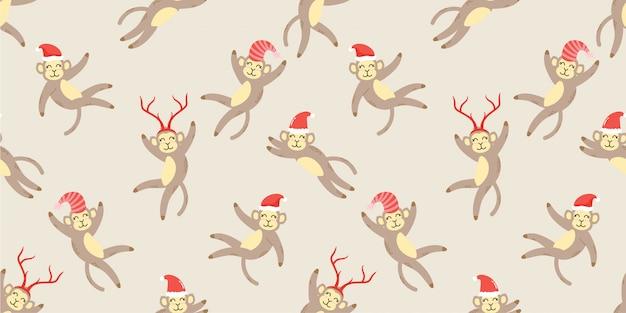 Doodle senza cuciture di simpatici animali scimmia inverno animale Vettore Premium
