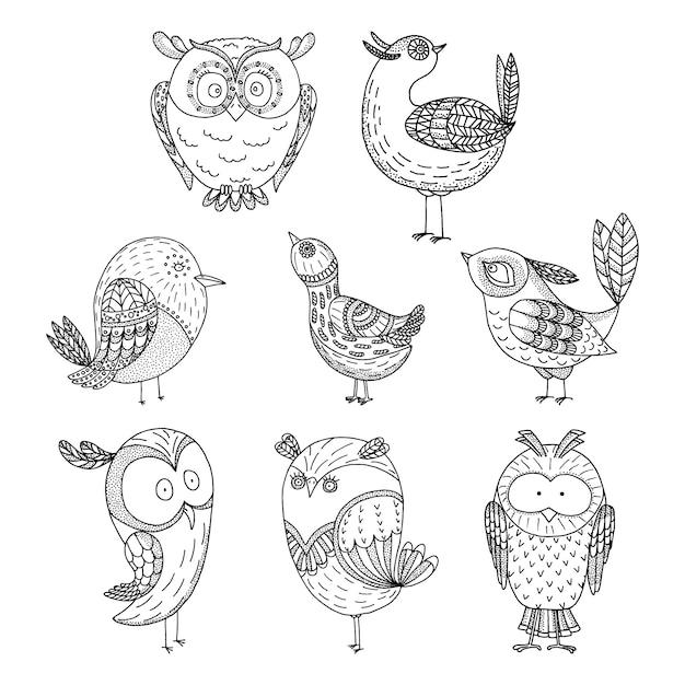 Doodle set di uccelli Vettore Premium