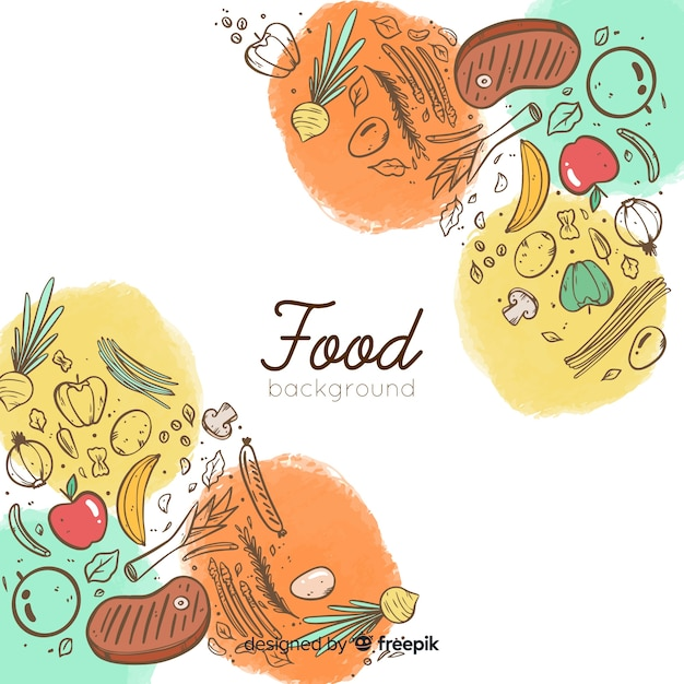 Doodle sfondo di cibo Vettore gratuito