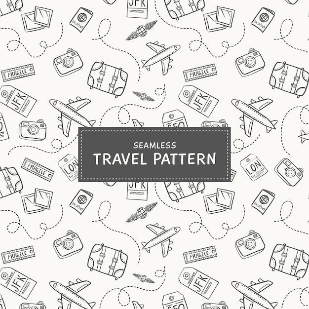 Doodle sfondo di viaggio Vettore gratuito