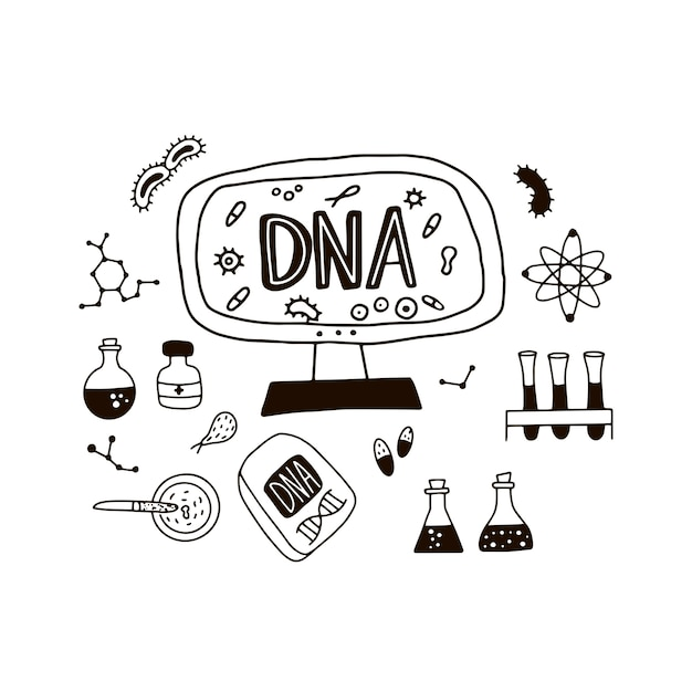 Doodle simboli del genoma. Vettore Premium