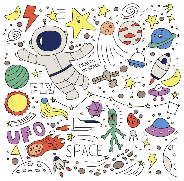 Doodle spazio impostato illustrazione vettoriale Vettore Premium