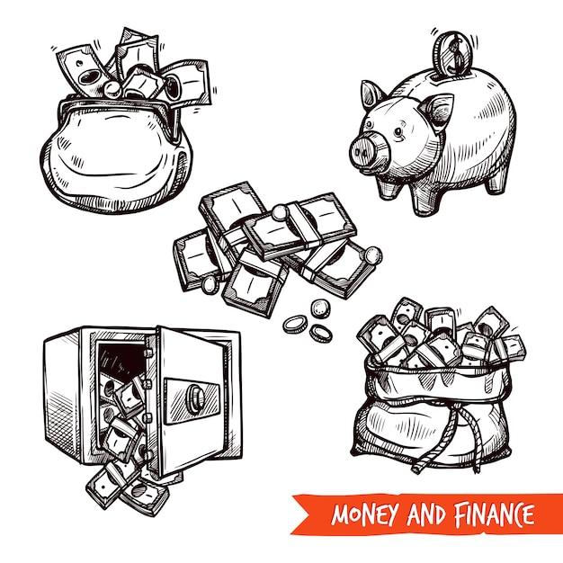 Doodle stabilito di simboli disegnati a mano di finanza Vettore gratuito