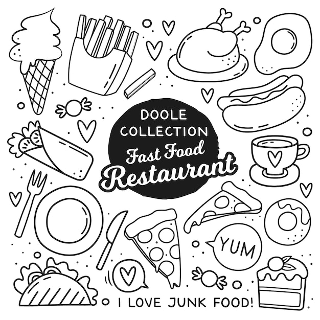 Doodle stile elementi di fast food Vettore Premium