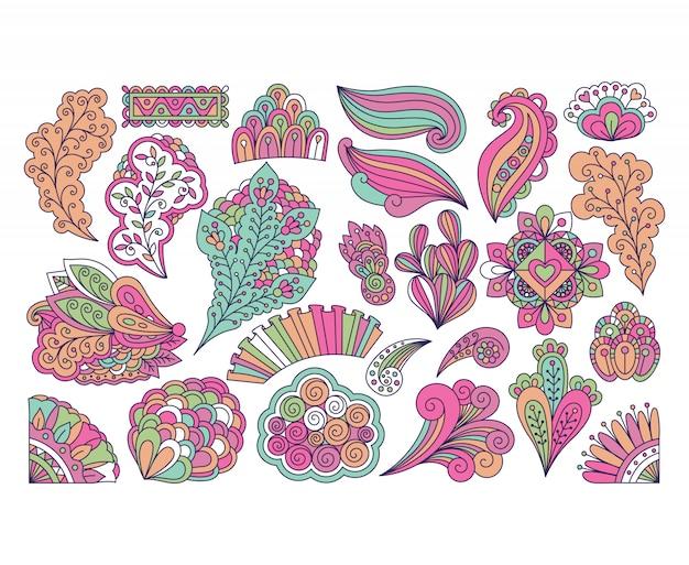 Doodle stile simpatici elementi floreali colorati Vettore Premium