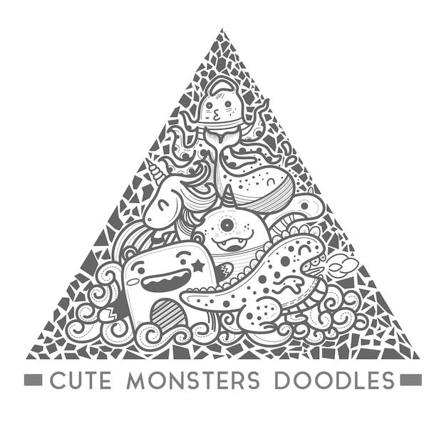 Doodle sveglio del mostro nel vettore del telaio di stile del triangolo. Vettore Premium