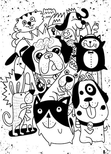 Doodles con cani carini Vettore Premium