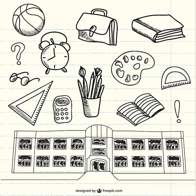 Doodles di forniture scolastiche su notebook Vettore gratuito