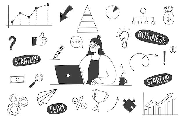 Doodles disegnati a mano di affari con una donna che lavora ad un computer. Vettore Premium
