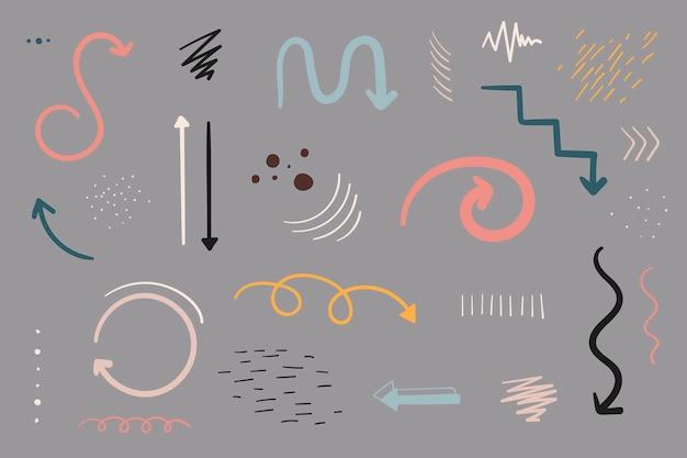 Doodles freccia impostata Vettore gratuito