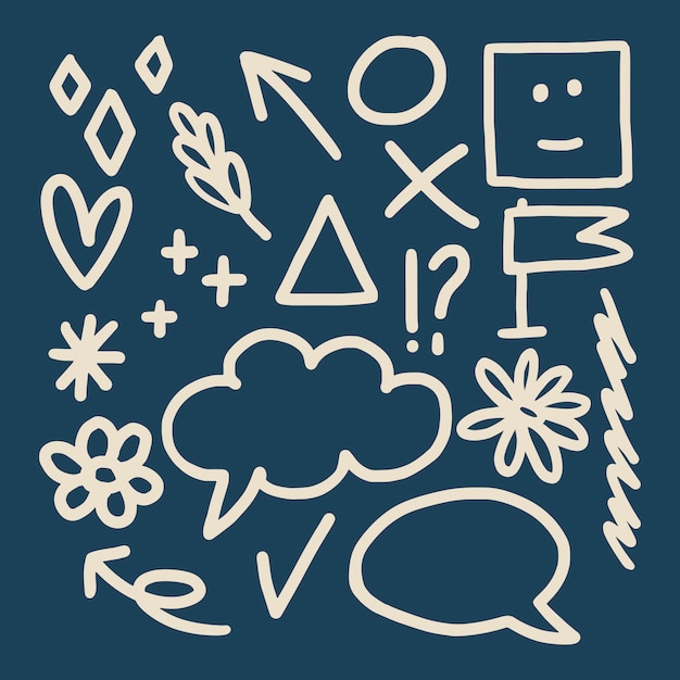 Doodles su una carta Vettore gratuito