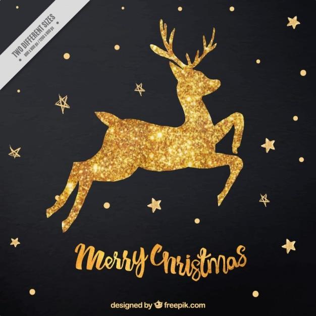 Dorato brillante renne sfondo di stelle Vettore gratuito