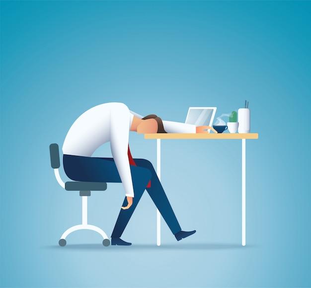 Dormire al lavoro. uomo d'affari stanco. concetto di superlavoro Vettore Premium