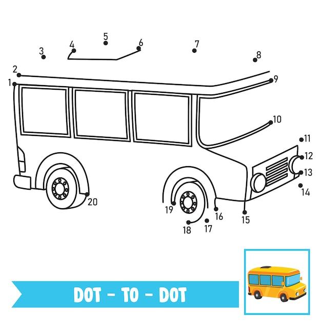 Dot to dot game illustration per l'educazione dei bambini Vettore Premium