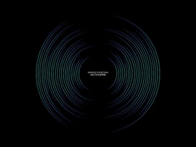 Dots la linea modello del cerchio dei colori verdi e blu dell'equalizzatore astratto dell'onda sonora su fondo nero nel concetto di musica, la tecnologia. Vettore Premium