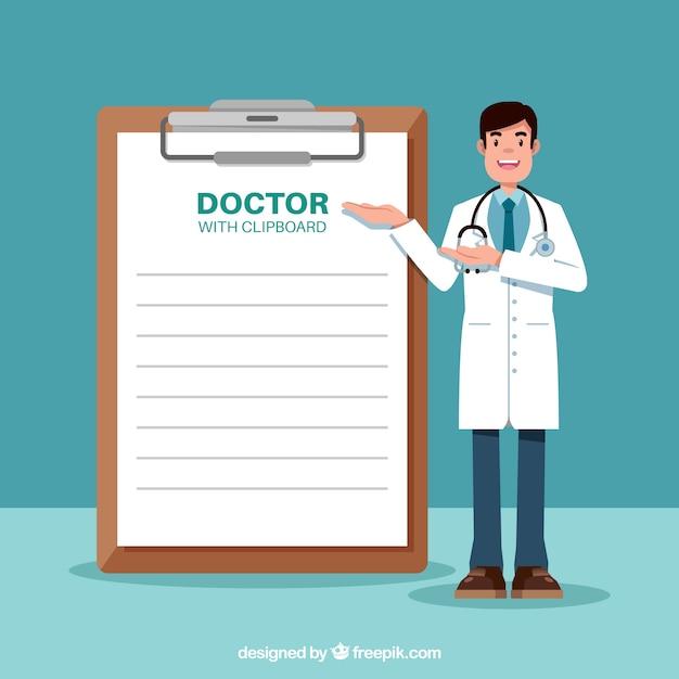 Dottore in piedi accanto alla lavagna per appunti Vettore gratuito