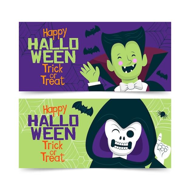 Dracula e il modello di banner halloween mietitore Vettore gratuito