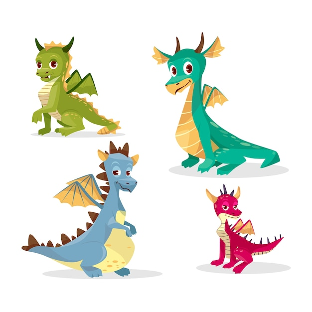 Draghi Dei Cartoni Animati Per Bambini O Bambini Scaricare Vettori