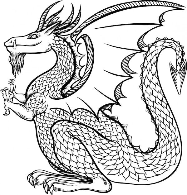 Drago cinese del bello inchiostro d'annata nell'illustrazione di stile cinese. Vettore Premium