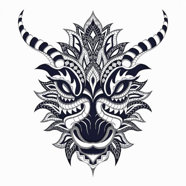 Drago stilizzato in bianco e nero nel vettore etnico Vettore Premium