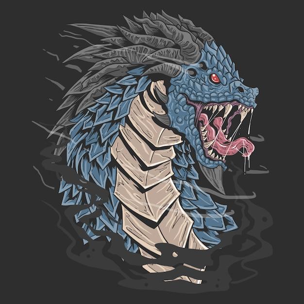 Dragon head blu colore angry face illustrazione Vettore Premium