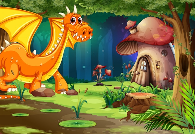 Dragon in dark forest e mushroom house Vettore Premium