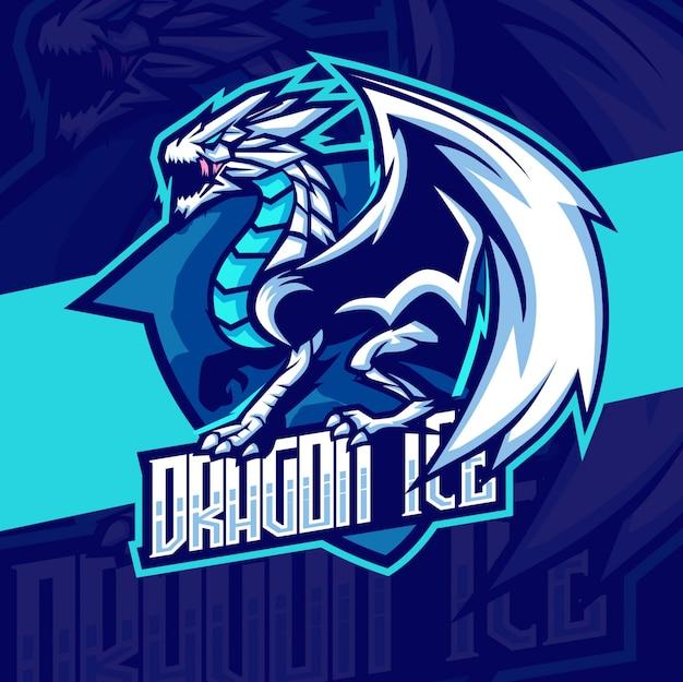 Dragon mascot esport logo design Vettore Premium