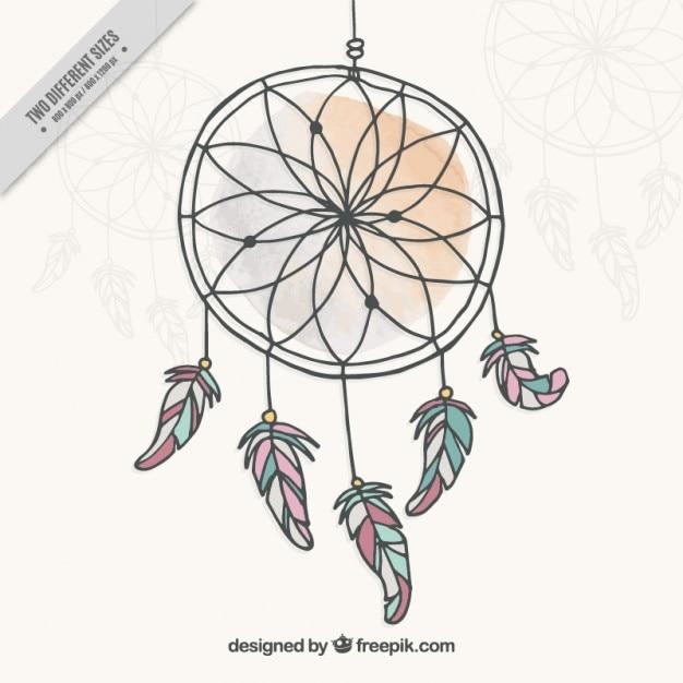 Dreamcatcher, disegnati a mano Vettore gratuito