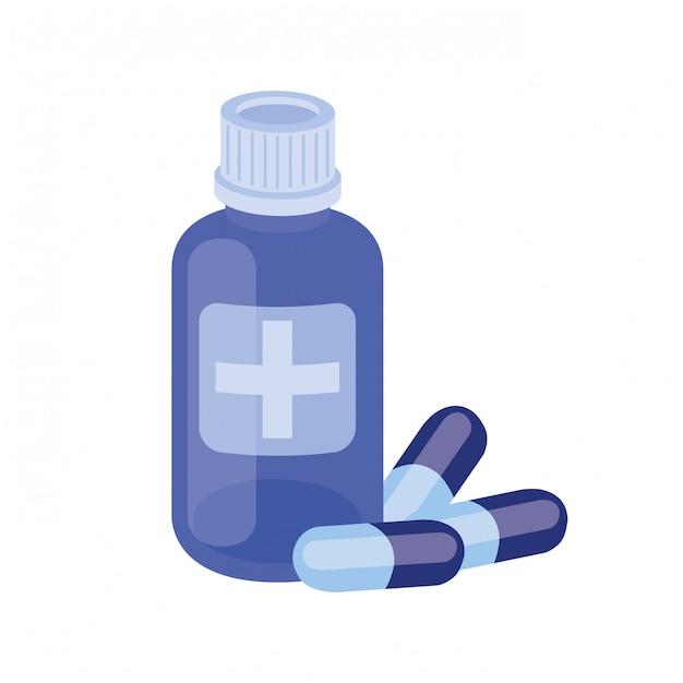 Droghe della medicina su bianco Vettore Premium