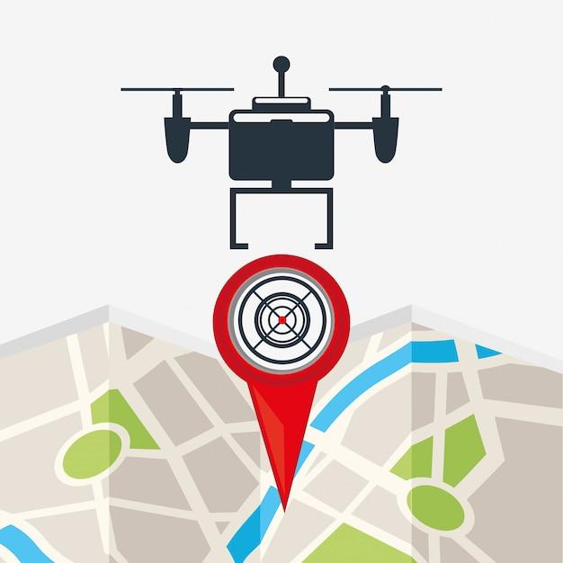 Drone design tecnologico con punto mappa Vettore gratuito