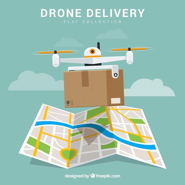Drone di consegna con scatola e mappa Vettore gratuito