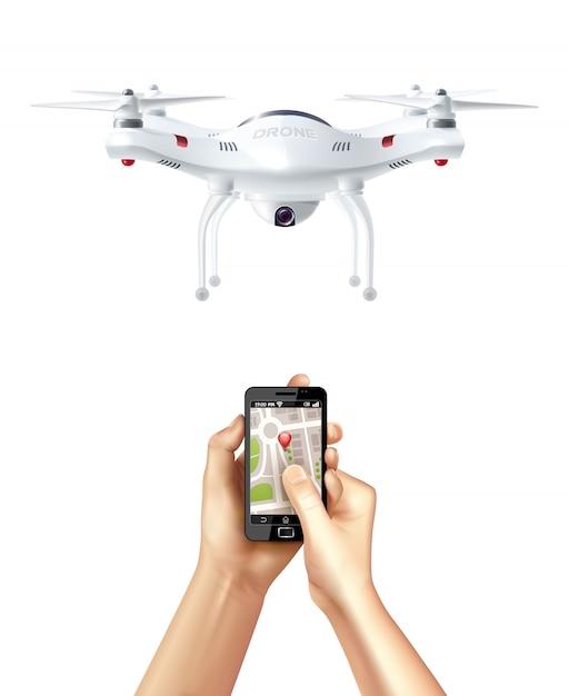 Drone e smartphone con app di navigazione Vettore gratuito