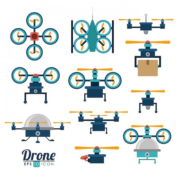 Drone set Vettore Premium