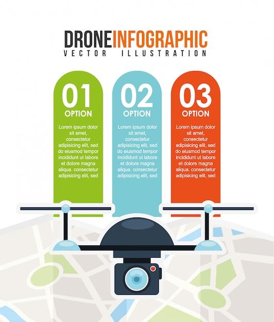 Drone technology design modello infografica Vettore gratuito